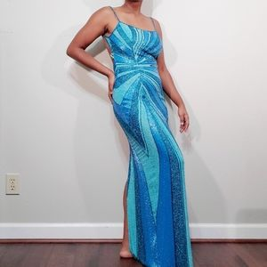 Cache Dresses - Turquoise blue beaded backless evening gown